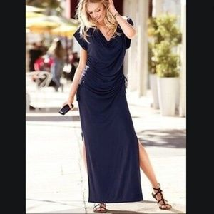 Victoria's Secret Black Ruched Maxi Dress